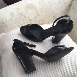 Zara patent leather ankle strap heels